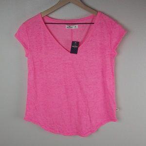 Women's Pink V Neck Shirt Hollister Medium